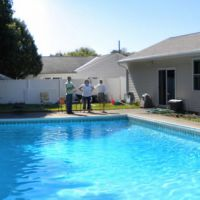 Before: The site contained a pool that our clients wanted to fill and replace with a backyard retreat