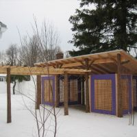 After: Completed pergola and outdoor structure in the winter